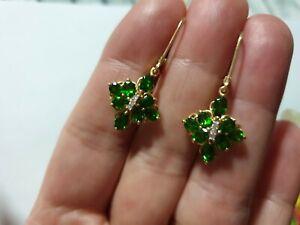 Gold 585 Ohrringe russischer Chromdiopsid + Diamanten 3,2g Neu ****