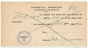 1942 ARGENTINA / GERMANY GRAF SPEE SHIP COVER, SPECIAL COLOR CANCEL !!