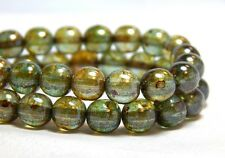 25 8mm Rustic Green Luster Semi-Transparent Round High Quality Czech Beads T-2E