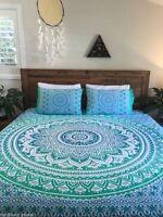 Mandala Queen Size Duvet Cover Reversible Bohemian Quilt Cotton With Pillows
