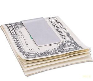 Men Dad Classic silver Polished Solid stainless steel Wallet money clip Gift