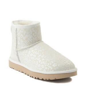 Womens UGG Classic Mini Snow Leopard Boot White NEW Animal Print