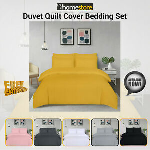 Plain Dyed Microfiber Duvet Quilt Cover Bedding Set with Pillowcases All Sizes