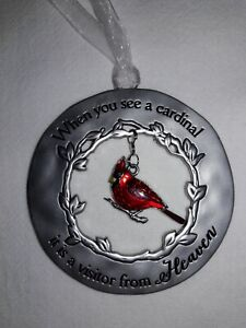 "NEW GANZ CARDINAL ORNAMENT ""When you see a cardinal it is a visitor from Heaven"""