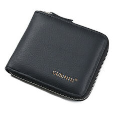 Men's Bifold Leather ID Credit Card Holder Wallet Zip Coin Pocket Purse Billfold