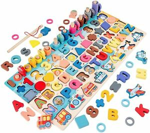 Wooden Number Alphabet Puzzles Sorting Counting Learning Toys Fishing Game