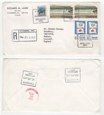 1979 CANADA Registered Air Mail Cover KITCHENER to PADSTOW GB Pairs