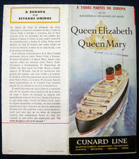 QUEEN ELIZABETH & QUEEN MARY Brochure, 1950s (In Spanish) -- Cunard Line