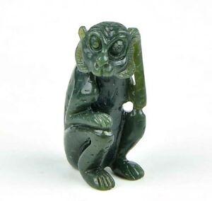 Natural Nephrite Jade Monkey Figurine / Hand Carved Gemstone Animal