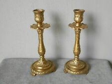 Pair of FRENCH Vintage bronze ELEGANT  Candlesticks Candle Holders