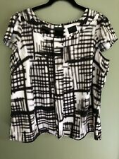 Worthington Women's Size 1X Short Sleeve Blouse , Black And White, Career