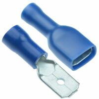 50 x PAIRS Blue 6.3mm Male + Female Fully Insulated Crimp Spade Connector