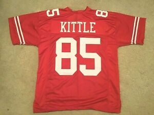 UNSIGNED CUSTOM Sewn Stitched George Kittle Red Jersey - M, L, XL, 2XL