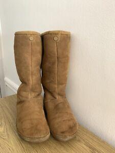 FitFlop Tall Shearling Sheepskin Tan Boots  Size UK 6