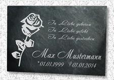 Grabstein Gedenktafel Grabplatte Urne Tiergrabstein Gedenkplatte Rose 22x16cm