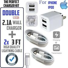 5W Cube Wall Charger for iPhone 5S,6,6S,SE,5,7,8,X + 2x (3ft) USB cables - White