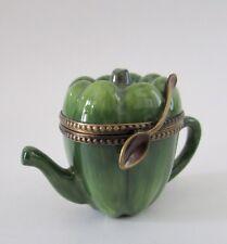 Limoges Peint Mein France Porcelain Green Pepper Teapot Trinket Box
