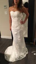 38 Ivory Brautkleid Hochzeitskleid Schleppe Spitze Schnürrücken Standesamt