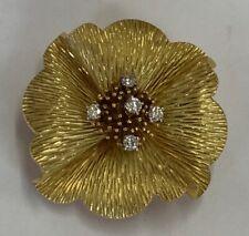 "Pin 18k Yellow Gold 1 3/8"" Wide New listing Vintage Ladies Tiffany & Co. Diamond Flower"