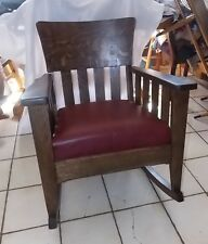 Quartersawn Oak Mission Rocker / Rocking Chair with burgundy leather  (R250)