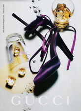 Gucci print ad 2004 purple shoes high heels, glasses, ice cubes