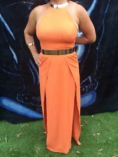 ELLE ZEITOUNE maxi / formal orange dress with gold metal collar,s.8 + accessory