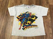 KIDS 5-6 Vtg 1995 DC Comics Superman Double Print Single Stitch 90s T-Shirt USA