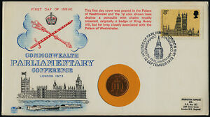 Great Britain 705 + 1p coin on FDC - Architecture, Parliamentary Conference