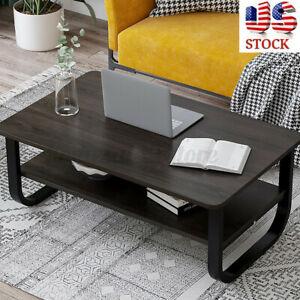 2 Tier Wood Coffee Tea Table Sofa Side Table Shelf Living Room Steel Pipe Home