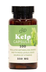 Organic Sea Kelp Powder Supplement - 100 Capsules 550mg Pills