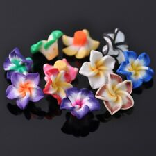 Wholesale 40pcs 20mm Big Lily Flower Polymer Clay Loose Beads Mixed Colors