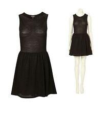 New TOPSHOP cutout back self stripe flippy dress UK 8 in Black