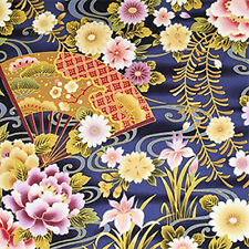 FANS & FLORALS: Blue Asian Japanese Quilt Cotton Fabric - By the Yard