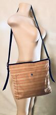 FOSSIL Long Live Vintage Peach Striped Textle Cow Leather Crossbody Shoulder Bag