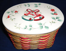 Oval Christmas Basket w/Christmas Bells painted on Wood Lid