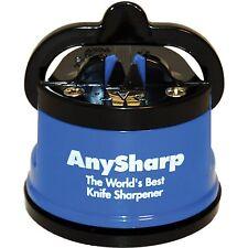 New! AnySharp Global World's Best PowerGrip Knife Sharpening Sharpener in Blue