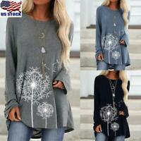 US Women's Floral Printed Long Sleeve Blouse Pullover Loose Tunic Tops T-Shirt