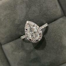 Certified 1.04Ct Pear Shape Halo Style Diamond Engagement Ring In 14K White Gold