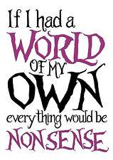 """Alice in Wonderland """"World my Own"""" Typography Decorative Vinyl Wall Sticker"""