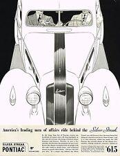 1935 BIG Vintage Silver Streak Pontiac Car Automobile Art Deco Print Ad