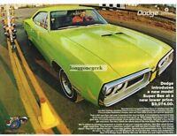1970 Dodge Chartreuse Super Bee 2-door Hardtop at the drag strip Vtg Print Ad