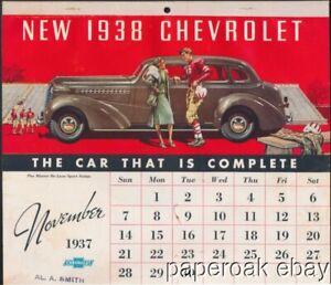Original 1937-1938 Chevrolet Advertising Calendar Complete
