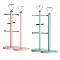 Kitchen Roll Holder & Mug Tree with Heart Design in Pastel Colour