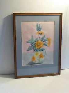 "Original Vintage Watercolour ""Sunflowers"" by Grace Williams signed & dated 1998"