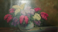 Vintage Still Life with flowers lilacs oil painting