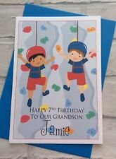 Handmade Personalised Birthday Card: Wall/Rock Climbing (Son Grandson Brother)