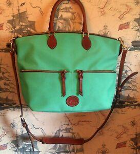 Dooney  and Bourke Teal Green and Brown Nylon Large Pocket Satchel Bag