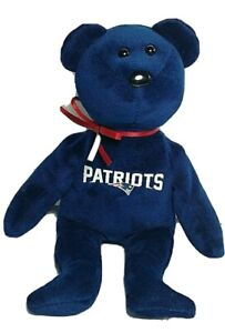 """NFL New England Patriots Blue Bear w Red & Silver Bow Ty Beanie Baby 8"""" no tag"""