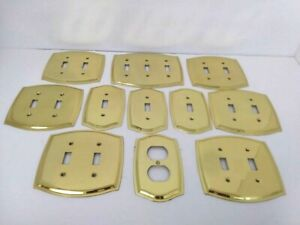 Outlet Plate Covers Solid Brass Lot Of 11-REAL SOLID BRASS (NOT PLATED)Pre-Owned