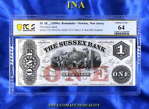 New Jersey Newton Sussex Bank $1 Obsolete Choice Unc PCGS 64 Perfect Margins